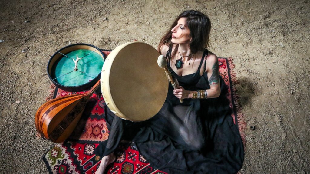 Ivana Stosic of Vartra playing a frame drum